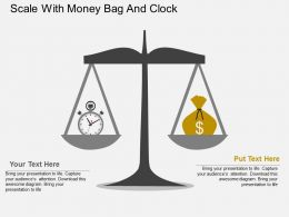 Scale With Money Bag And Clock Flat Powerpoint Design