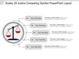 Scales Of Justice Comparing Symbol PowerPoint Layout