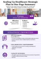 Scaling Up Healthcare Strategic Plan In One Page Summary Presentation Report Infographic PPT PDF Document
