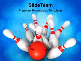 Scattered Skittle And Bowling Ball Competition Powerpoint Templates Ppt Themes And Graphics 0313