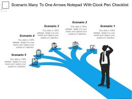 scenario_many_to_one_arrows_notepad_with_clock_pen_checklist_Slide01