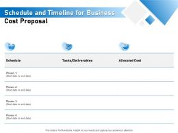 Schedule And Timeline For Business Cost Proposal Ppt Powerpoint Presentation Layouts