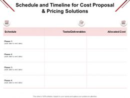 Schedule And Timeline For Cost Proposal And Pricing Solutions Deliverables Ppt Example 2015