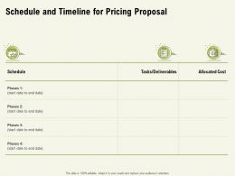 Schedule And Timeline For Pricing Proposal Ppt Powerpoint Presentation Outline Pictures