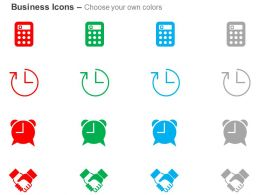 Schedule Calculator Alarm Clock Handshake Ppt Icons Graphic