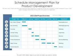 Schedule Management Plan For Product Development