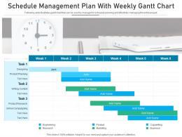 Schedule Management Plan With Weekly Gantt Chart