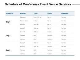 Schedule Of Conference Event Venue Services Ppt Powerpoint Presentation Slides Grid