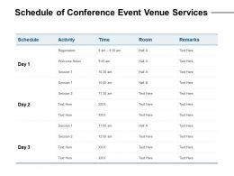 Schedule Of Conference Event Venue Services Ppt Powerpoint Presentation Slides Grid