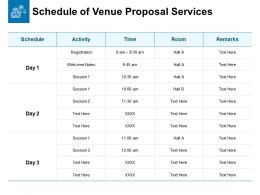 Schedule Of Venue Proposal Services Ppt Powerpoint Styles Show