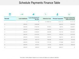 Schedule Payments Finance Table