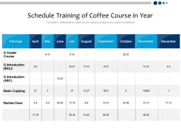 Schedule Training Of Coffee Course In Year
