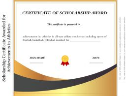 Scholarship Certificate Awarded For Achievements In Athletics