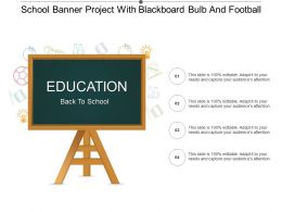 School Banner Project With Blackboard Bulb And Football