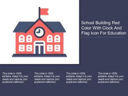 School Building Red Color With Clock And Flag Icon For Education
