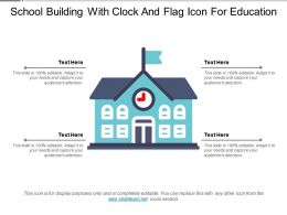 School Building With Clock And Flag Icon For Education