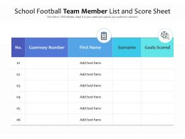 School Football Team Member List And Score Sheet