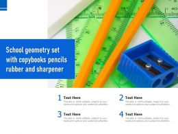 School Geometry Set With Copybooks Pencils Rubber And Sharpener