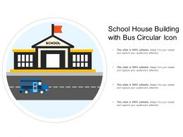 School House Building With Bus Circular Icon