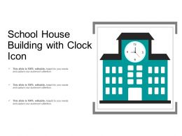School House Building With Clock Icon