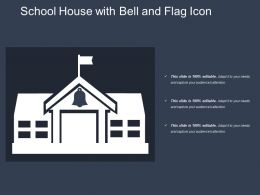 School House With Bell And Flag Icon