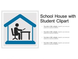 School House With Student Clipart