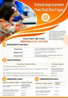 School Improvement Plan Goal One Pager Presentation Report Infographic PPT PDF Document
