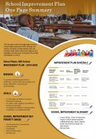School Improvement Plan One Page Summary Presentation Report Infographic PPT PDF Document