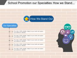 School Promotion Our Specialties How We Stand Out