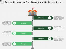 School Promotion Our Strengths With School Icon Ppt