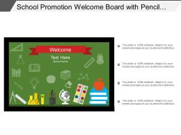 School Promotion Welcome Board With Pencil Books Icons