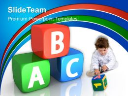 School Templates For Powerpoint Alphabetic Cubes Education Ppt Slides