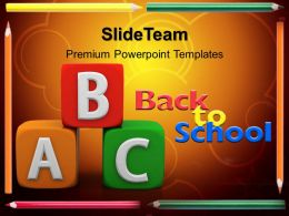 School Templates For Powerpoint Alphabets Abc Blocks Education Success Ppt Themes