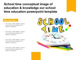 School Time Conceptual Image Of Education And Knowledge Our School Time Education Template