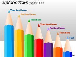School Time Crayons Powerpoint Presentation Slides