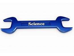 Science Text On Wrench To Show Technology And Education Stock Photo