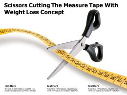 Scissors Cutting The Measure Tape With Weight Loss Concept