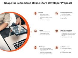 Scope For Ecommerce Online Store Developer Proposal Ppt Powerpoint Presentation Infographics Icons