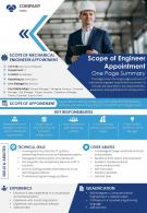 Scope Of Engineer Appointment One Page Summary Presentation Report Infographic PPT PDF Document
