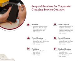 Scope Of Services For Corporate Cleaning Service Contract Ppt Powerpoint Presentation Icon