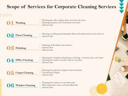 Scope Of Services For Corporate Cleaning Services Ppt File Slides