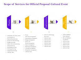 Scope Of Services For Official Proposal Cultural Event Ppt Powerpoint Presentation File Slides