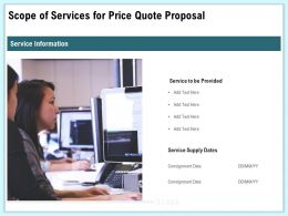 Scope Of Services For Price Quote Proposal Ppt Templates
