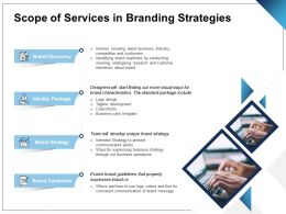 Scope Of Services In Branding Strategies Ppt Powerpoint Presentation Icon Pictures