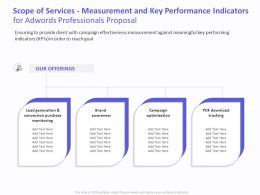 Scope Of Services Measurement And Key Performance Indicators For AdWords Professionals Proposal Ppt Layouts