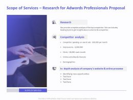 Scope Of Services Research For AdWords Professionals Proposal Ppt File Topics