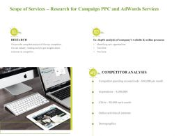 Scope Of Services Research For Campaign PPC And Adwords Services Competitor Spending Ppt Good