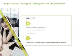 Scope Of Services Strategy For Campaign PPC And Adwords Services Comprehensive Strategy Ppt Ideas