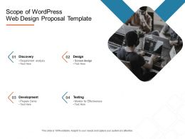 Scope Of Wordpress Web Design Proposal Template Ppt Powerpoint Style Grid