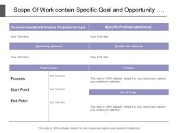Scope Of Work Contain Specific Goal And Opportunity Statement For Business Project